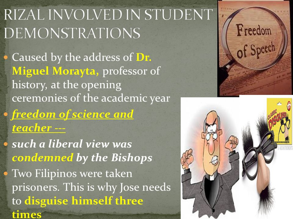 RIZAL INVOLVED IN STUDENT DEMONSTRATIONS