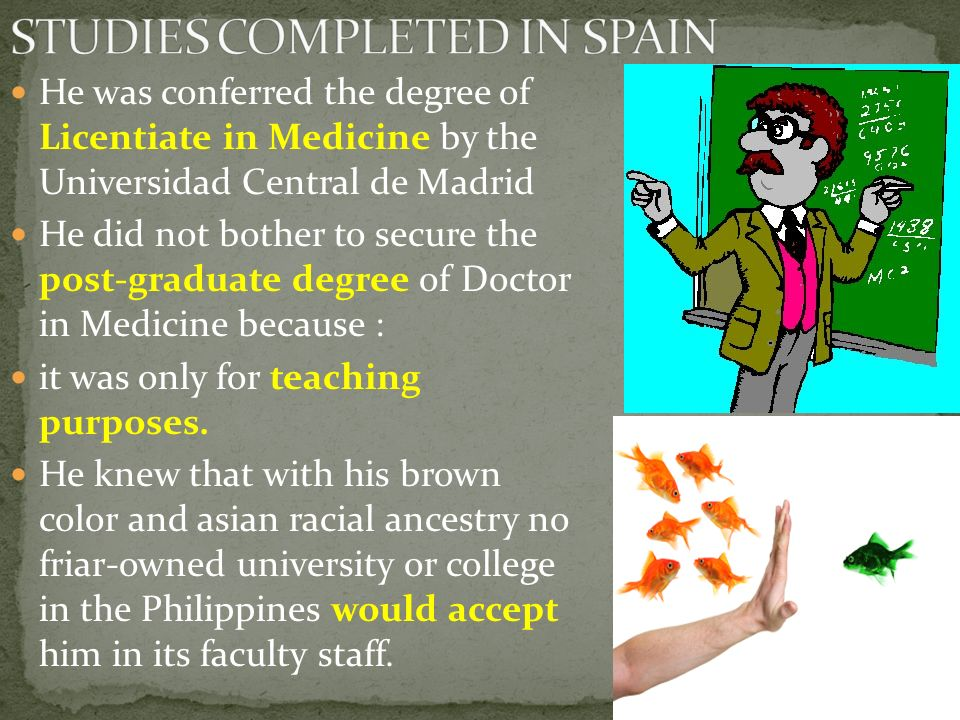STUDIES COMPLETED IN SPAIN