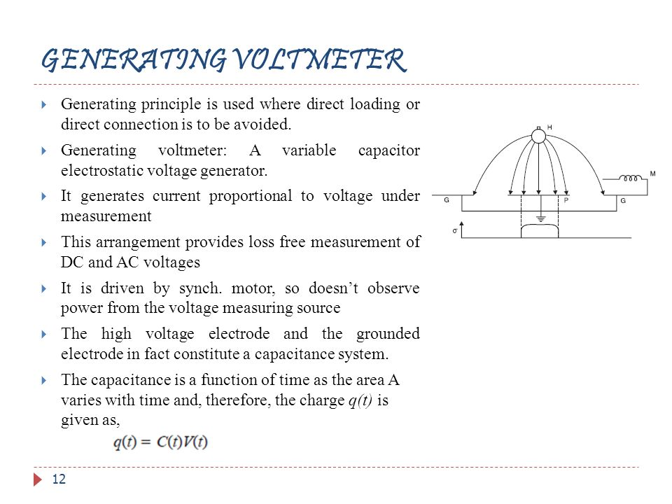 GENERATING VOLTMETER Generating principle is used where direct loading or direct connection is to be avoided.