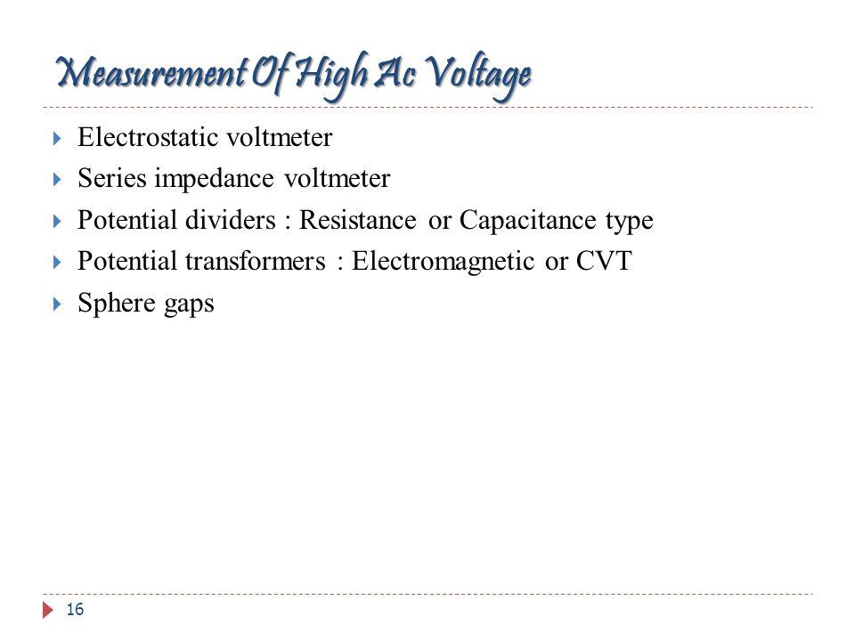 Measurement Of High Ac Voltage