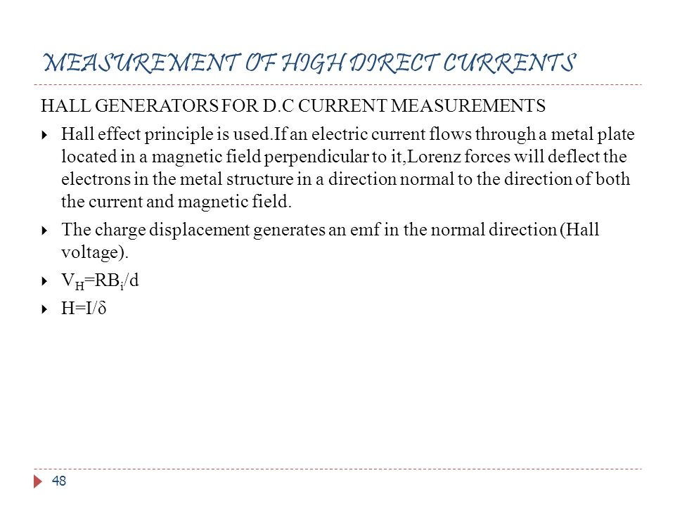 MEASUREMENT OF HIGH DIRECT CURRENTS