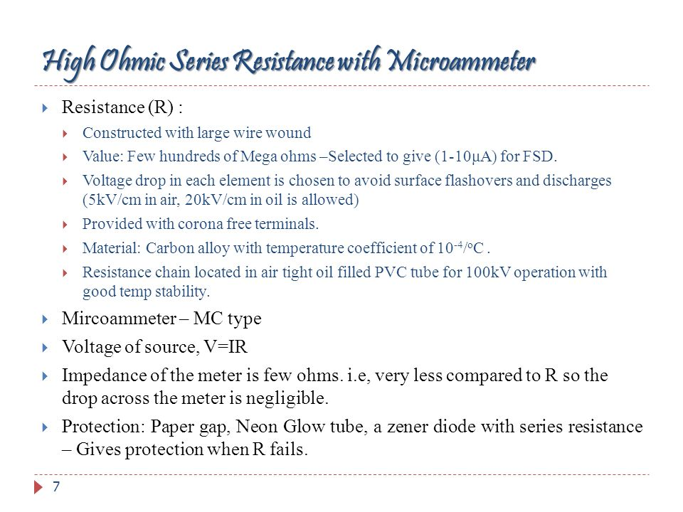 High Ohmic Series Resistance with Microammeter