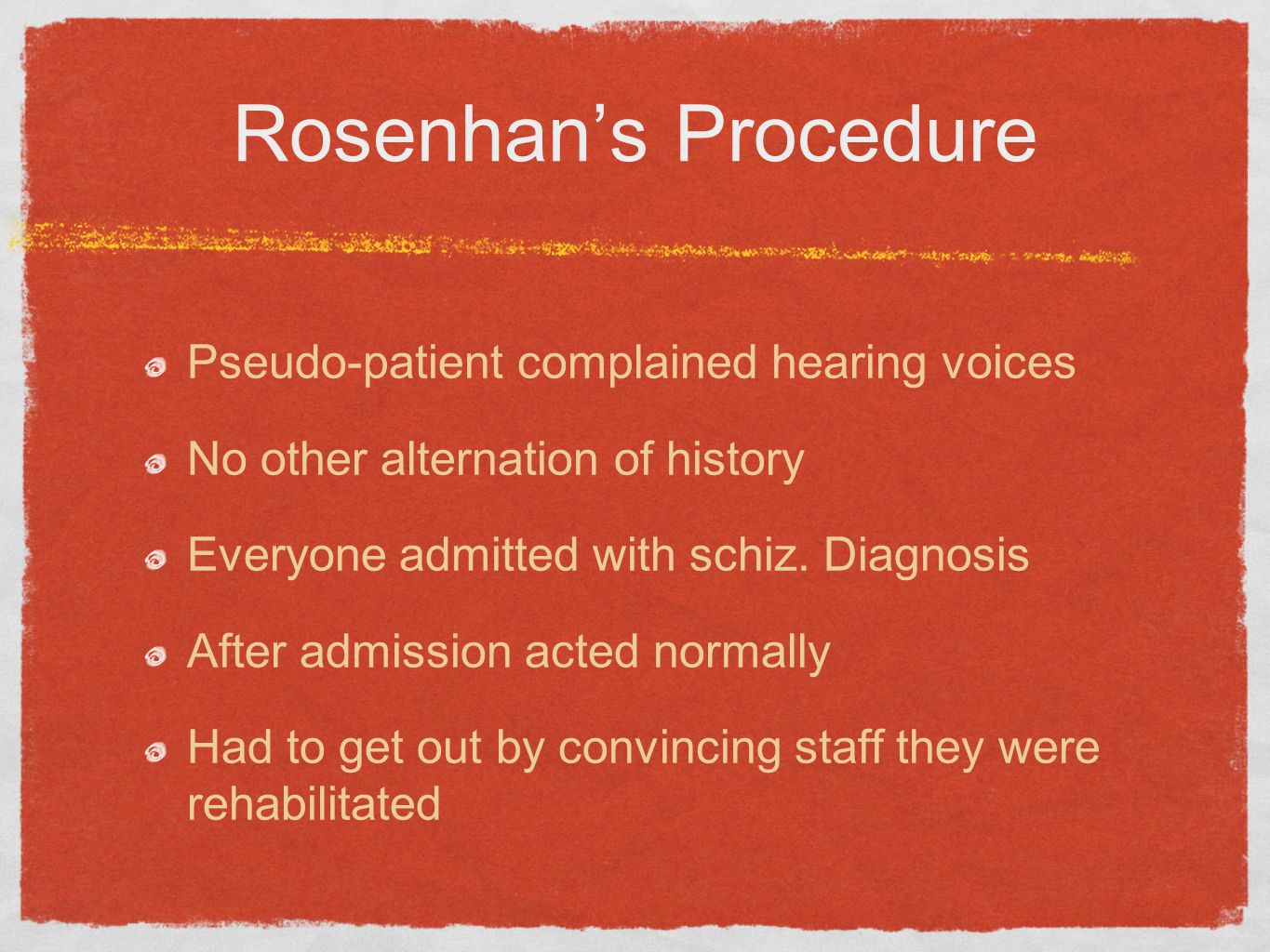 Rosenhan's Procedure Pseudo-patient complained hearing voices
