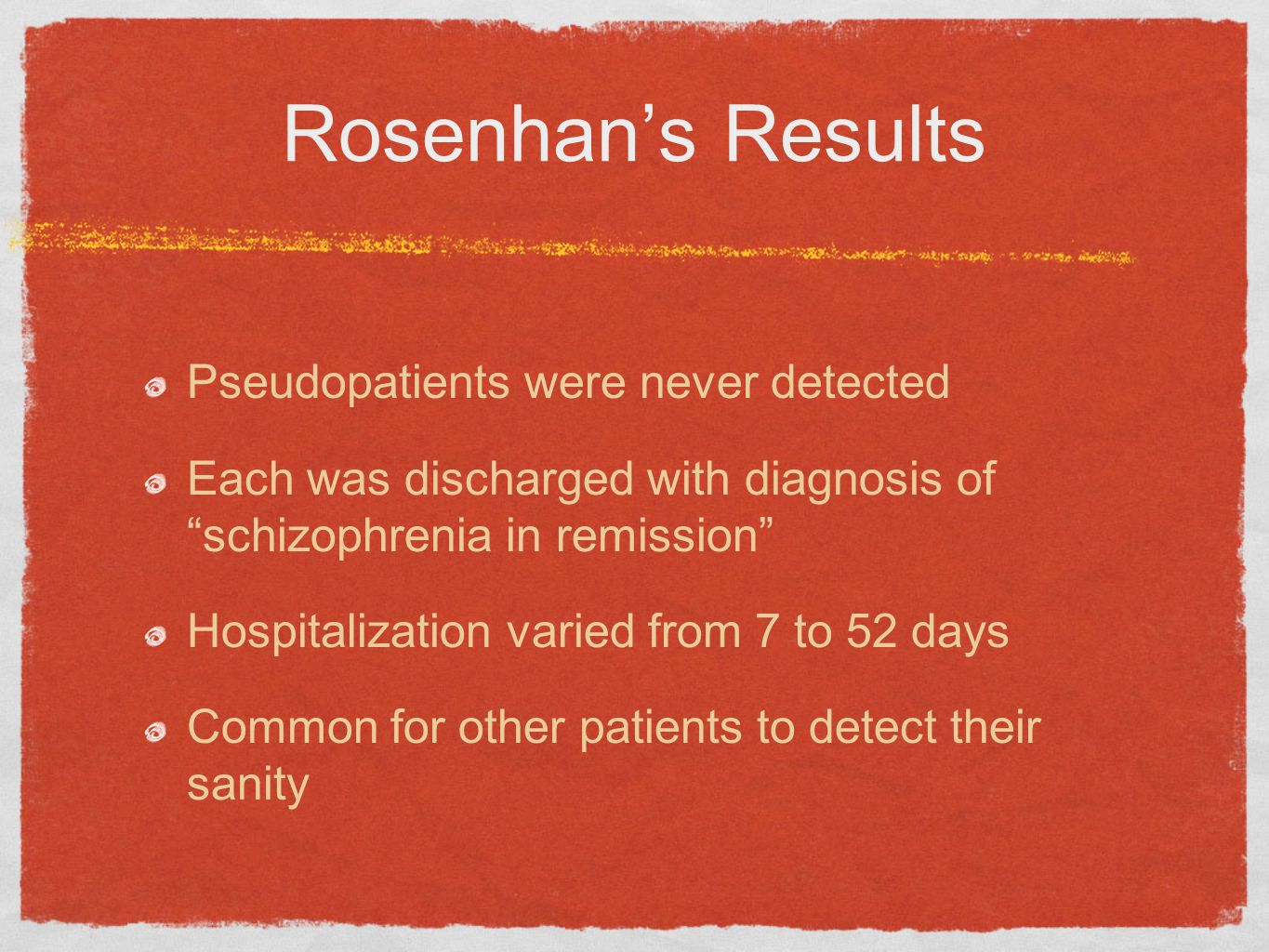 Rosenhan's Results Pseudopatients were never detected