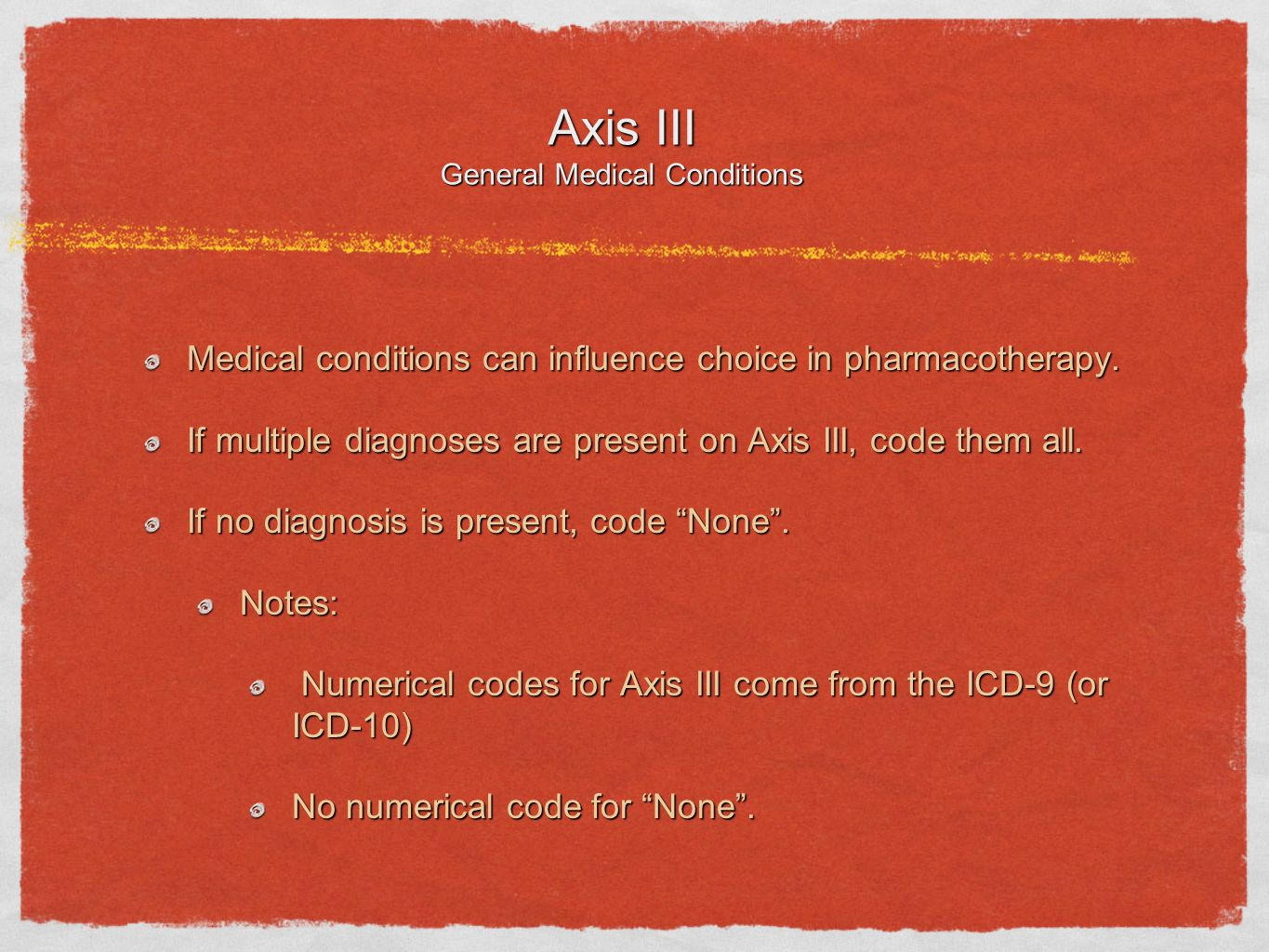 Axis III General Medical Conditions