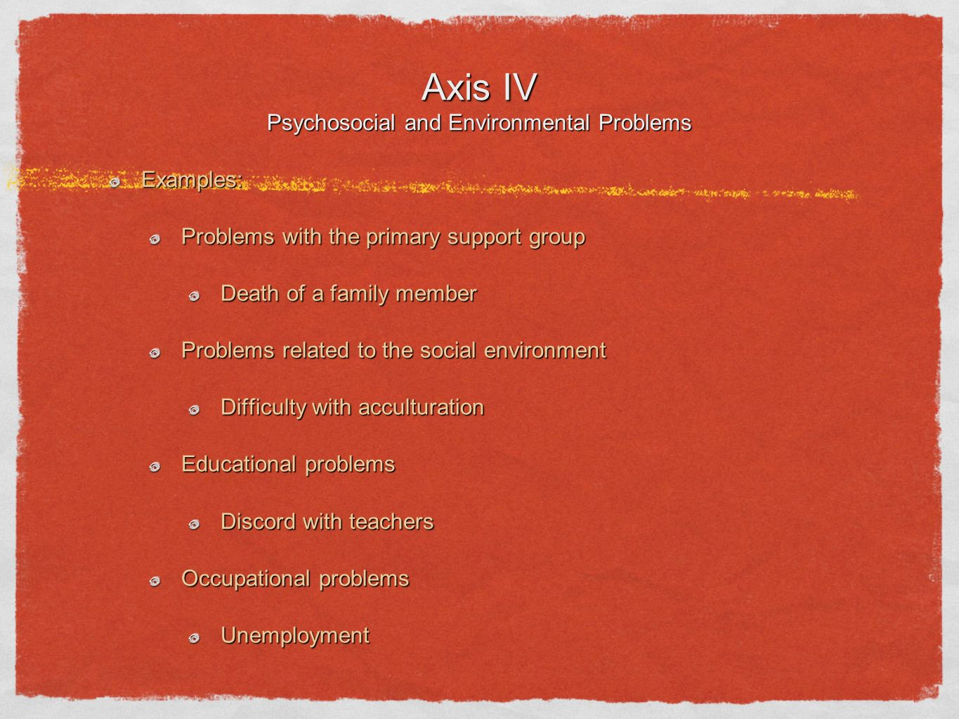 Axis IV Psychosocial and Environmental Problems