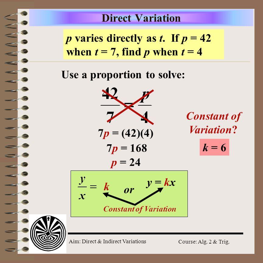 Direct Variation Constant of Variation