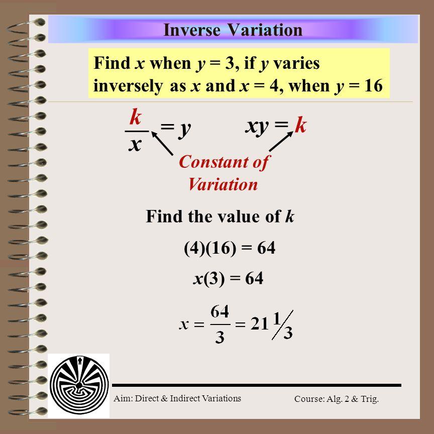 k xy = k = y x Inverse Variation