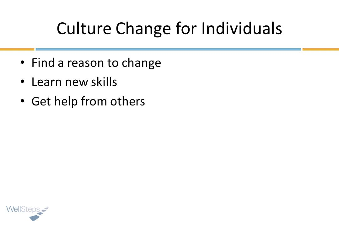 Culture Change for Individuals
