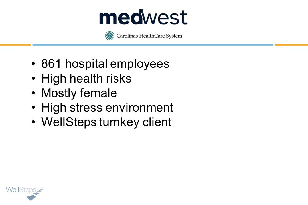 861 hospital employees High health risks. Mostly female.