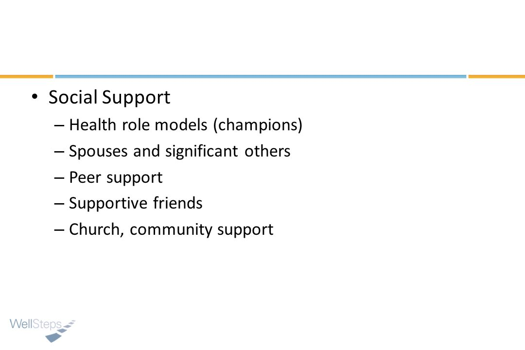 Social Support Health role models (champions)