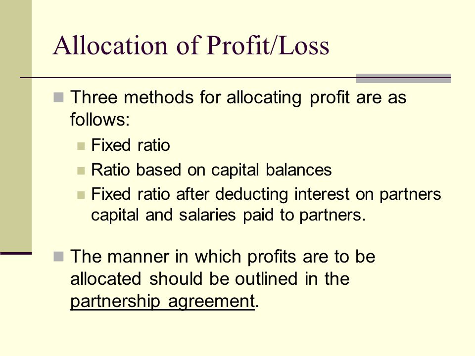 Allocation of Profit/Loss