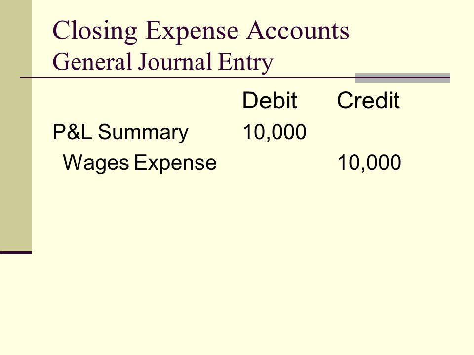 Closing Expense Accounts General Journal Entry