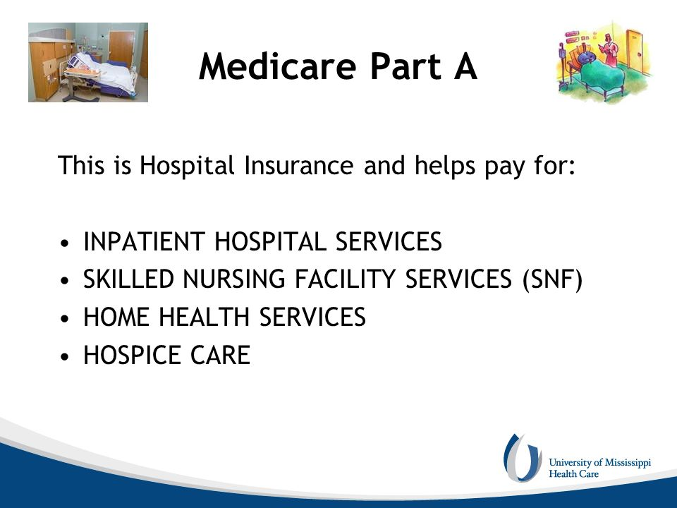Medicare Part A This is Hospital Insurance and helps pay for: