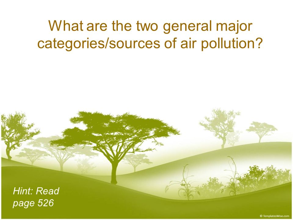 What are the two general major categories/sources of air pollution