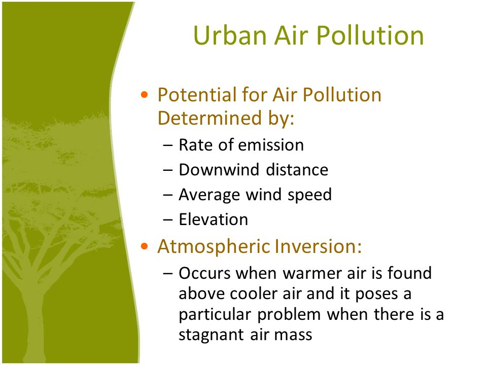 Urban Air Pollution Potential for Air Pollution Determined by: