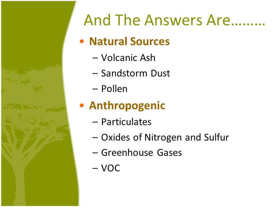 And The Answers Are……… Natural Sources Anthropogenic Volcanic Ash