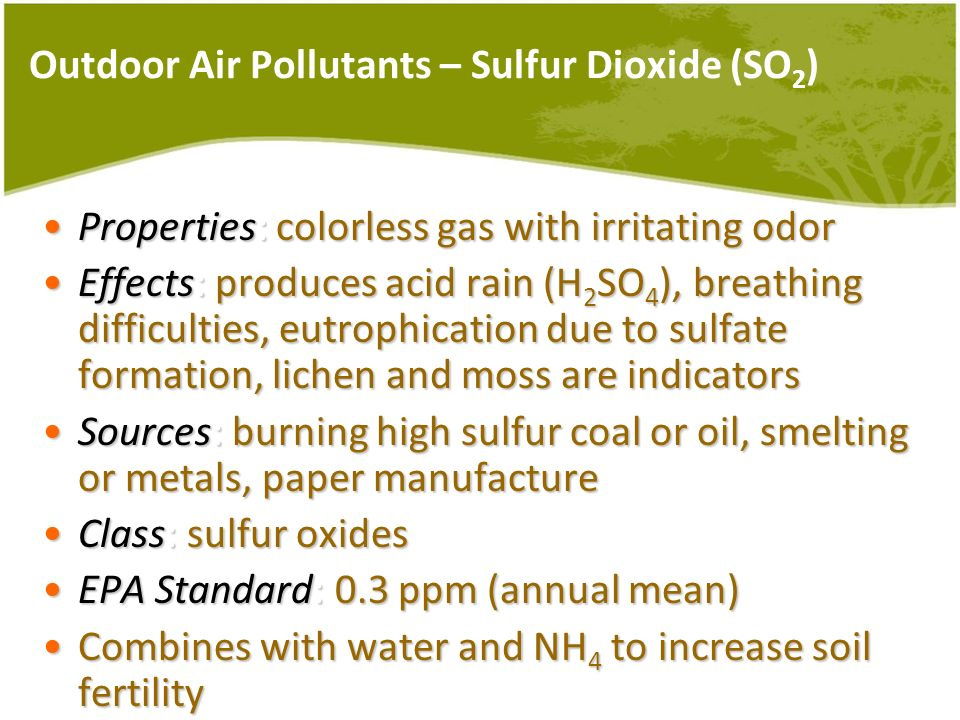 Outdoor Air Pollutants – Sulfur Dioxide (SO2)