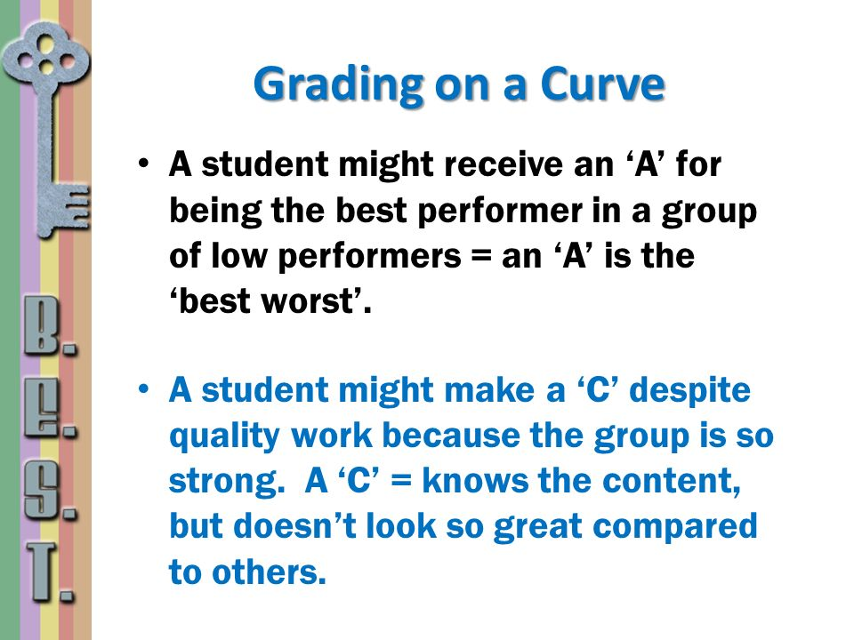 Grading on a Curve A student might receive an 'A' for being the best performer in a group of low performers = an 'A' is the 'best worst'.