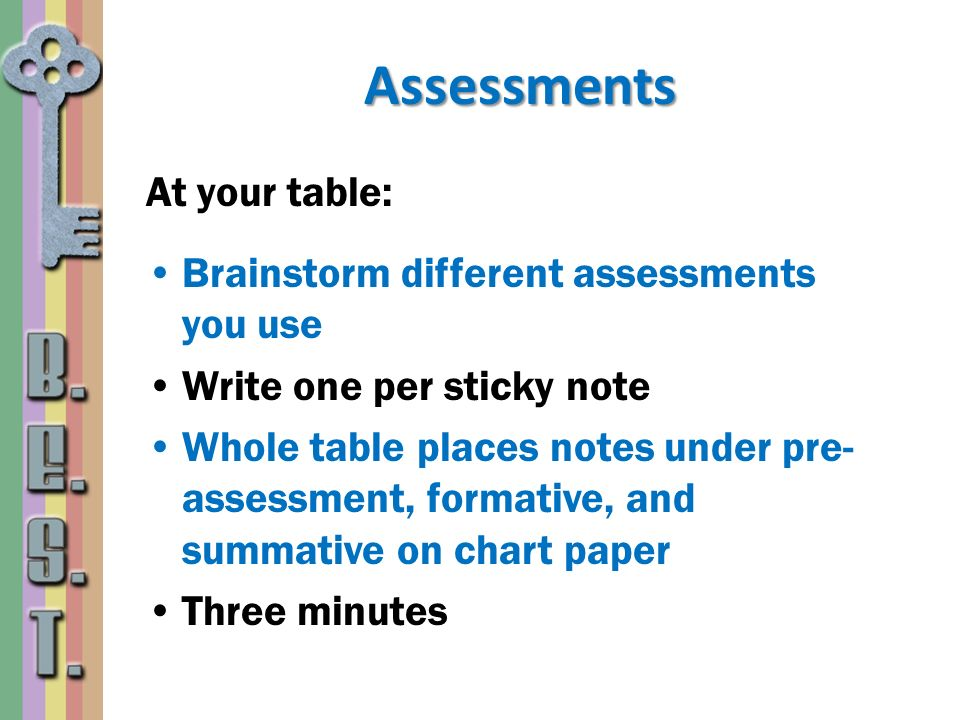 Assessments At your table: Brainstorm different assessments you use