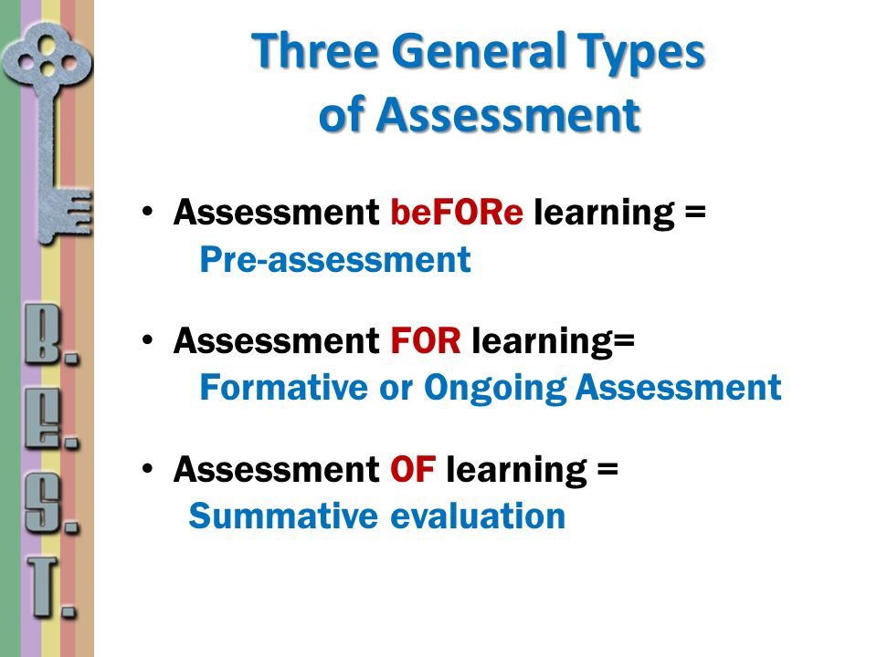 Three General Types of Assessment
