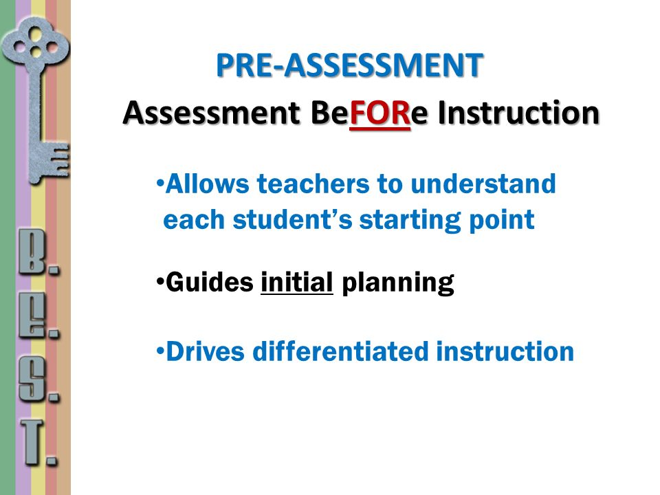 Assessment BeFORe Instruction