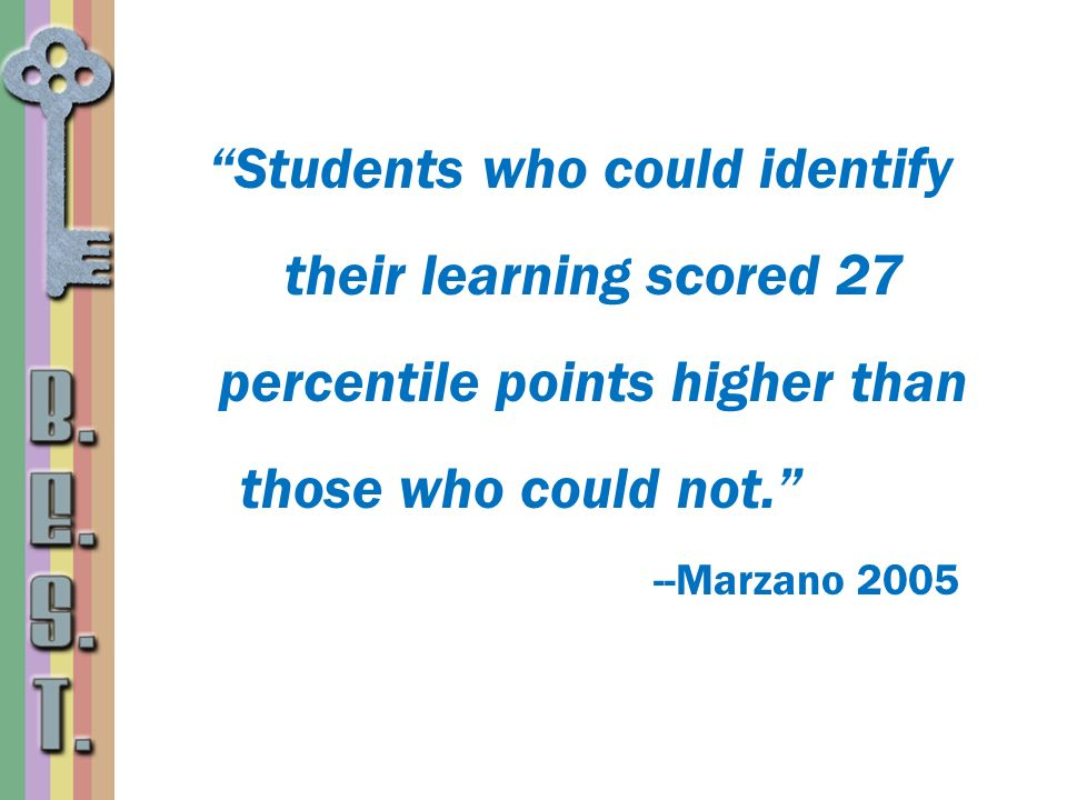 Students who could identify their learning scored 27 percentile points higher than those who could not. --Marzano 2005