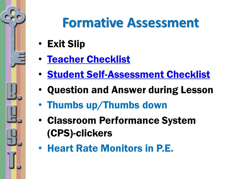 Formative Assessment Exit Slip Teacher Checklist