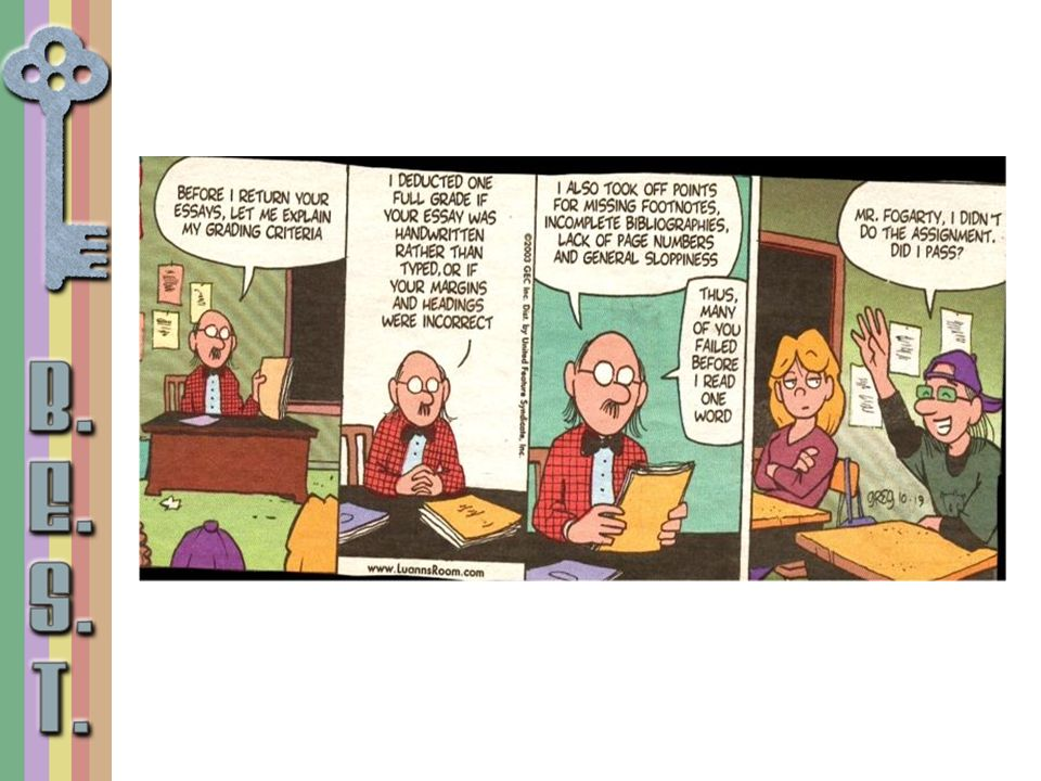 What does this comic strip tell us about this teacher's grading