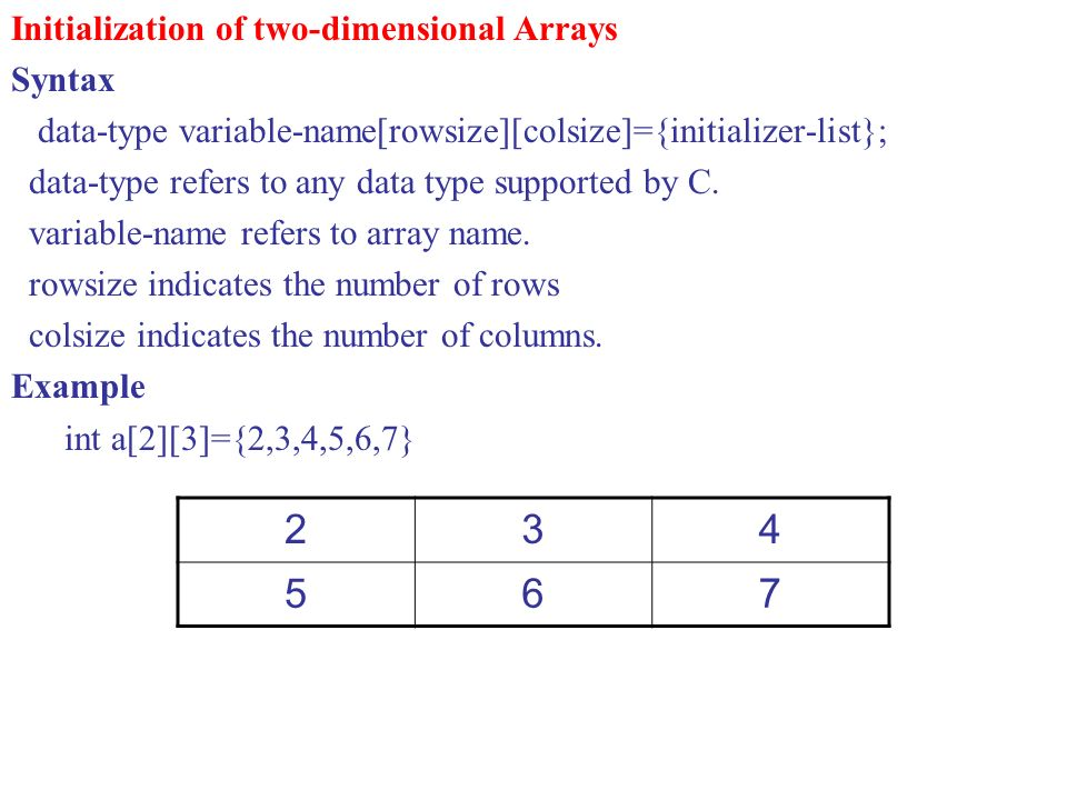 2 3 4 5 6 7 Initialization of two-dimensional Arrays Syntax