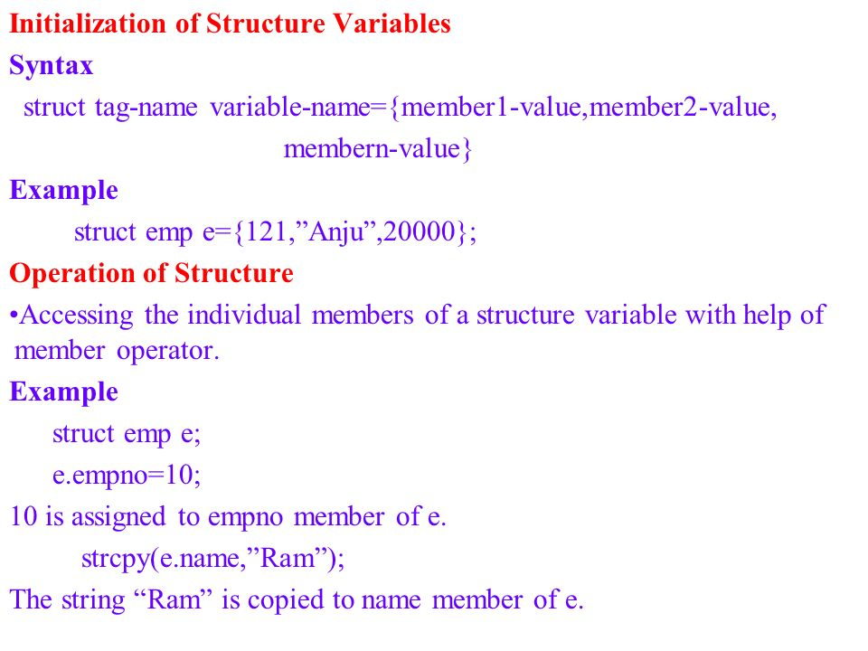 Initialization of Structure Variables