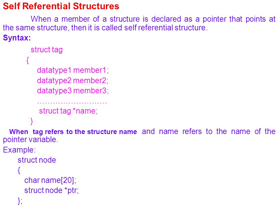 Self Referential Structures