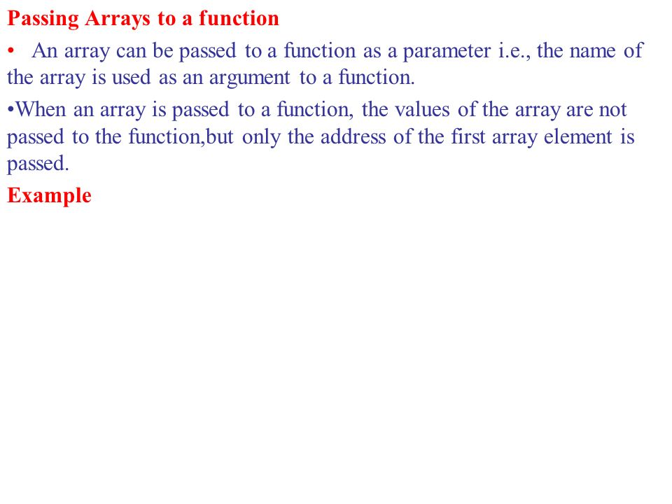 Passing Arrays to a function