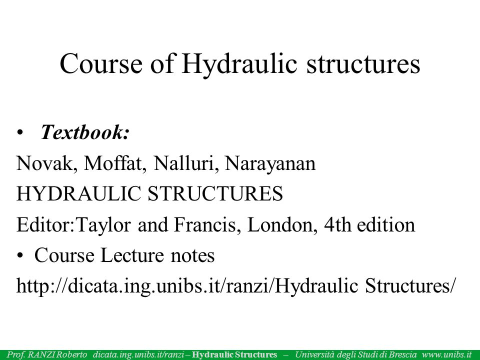 Course of Hydraulic structures