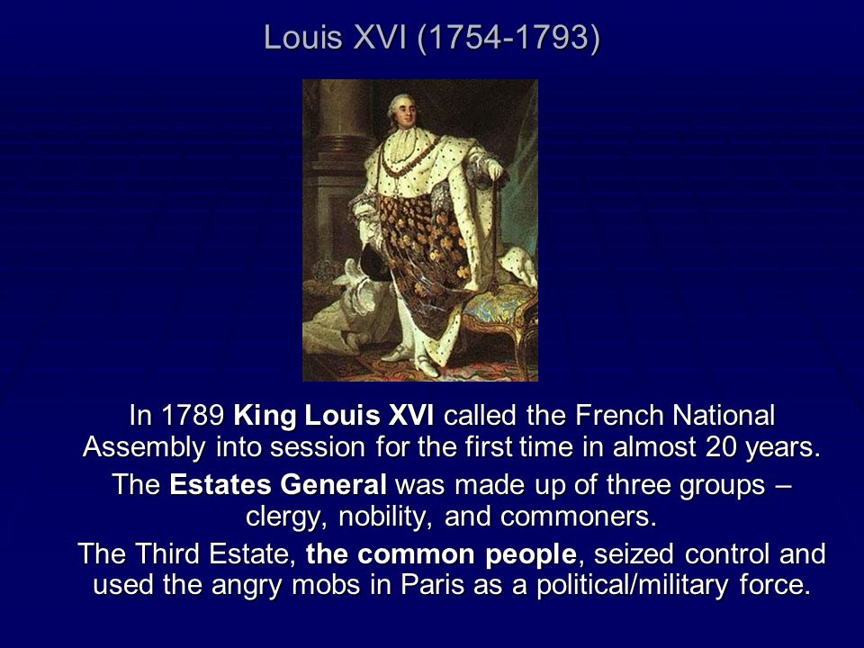 Louis XVI (1754-1793)In 1789 King Louis XVI called the French National Assembly into session for the first time in almost 20 years.