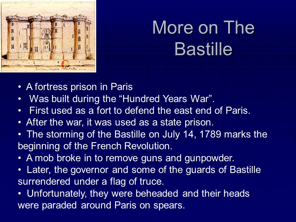 More on The Bastille A fortress prison in Paris