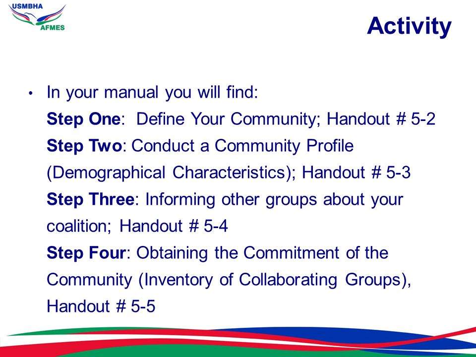 Activity In your manual you will find: