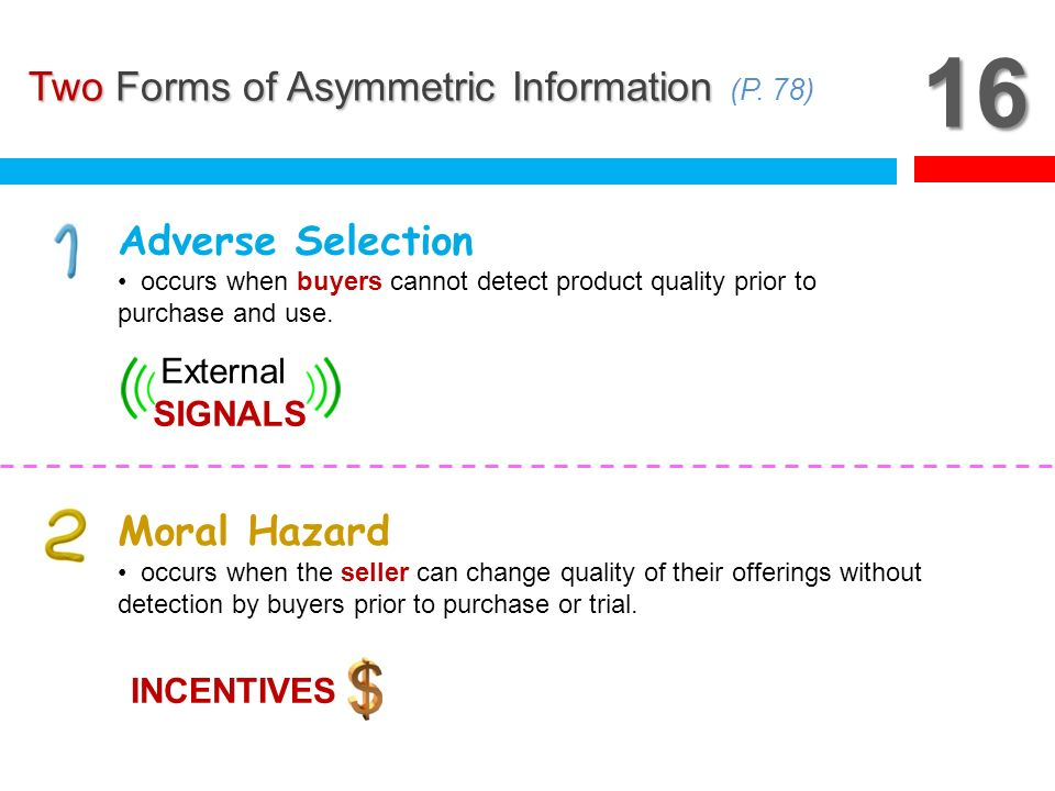 16 Two Forms of Asymmetric Information (P. 78) Adverse Selection