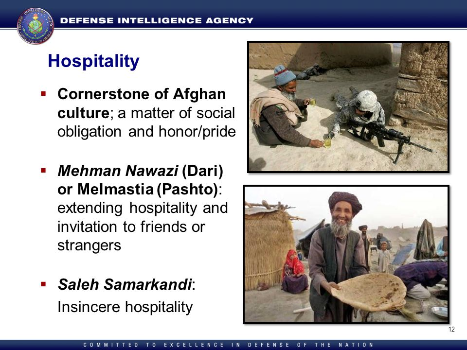 Hospitality Cornerstone of Afghan culture; a matter of social obligation and honor/pride.