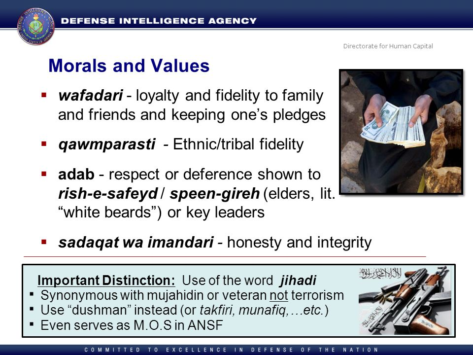 Morals and Values wafadari - loyalty and fidelity to family and friends and keeping one's pledges.