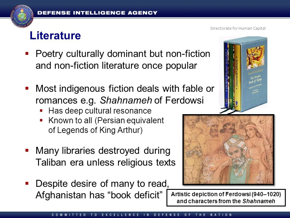 Literature Poetry culturally dominant but non-fiction and non-fiction literature once popular.