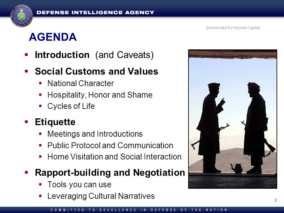 AGENDA Introduction (and Caveats) Social Customs and Values Etiquette