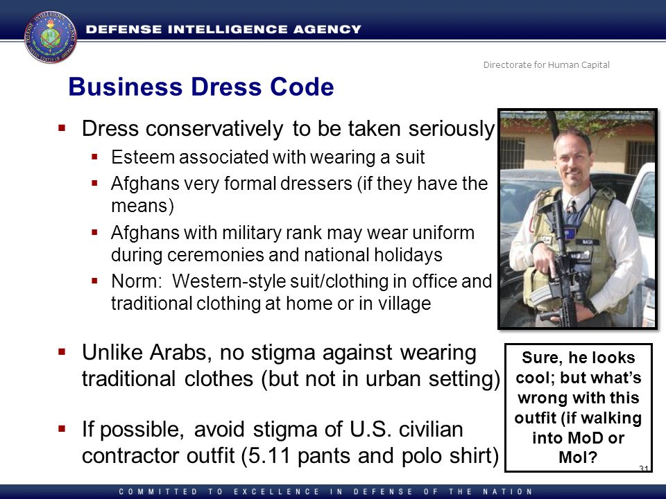 Business Dress Code Dress conservatively to be taken seriously