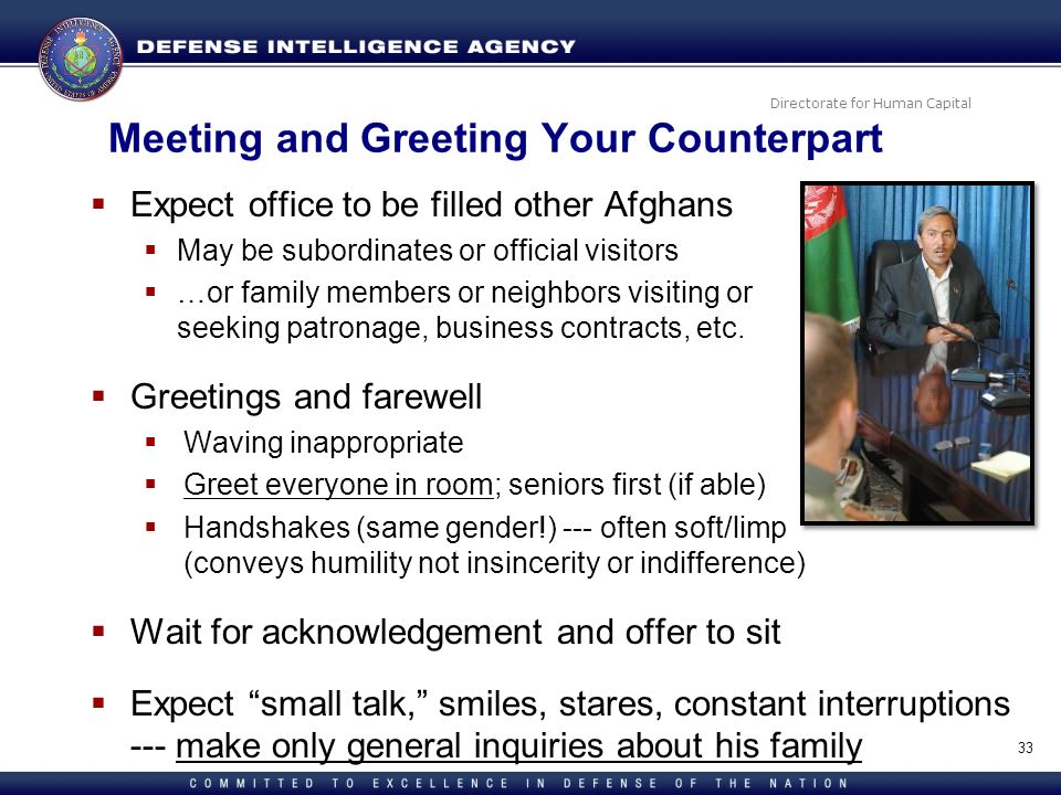 Meeting and Greeting Your Counterpart