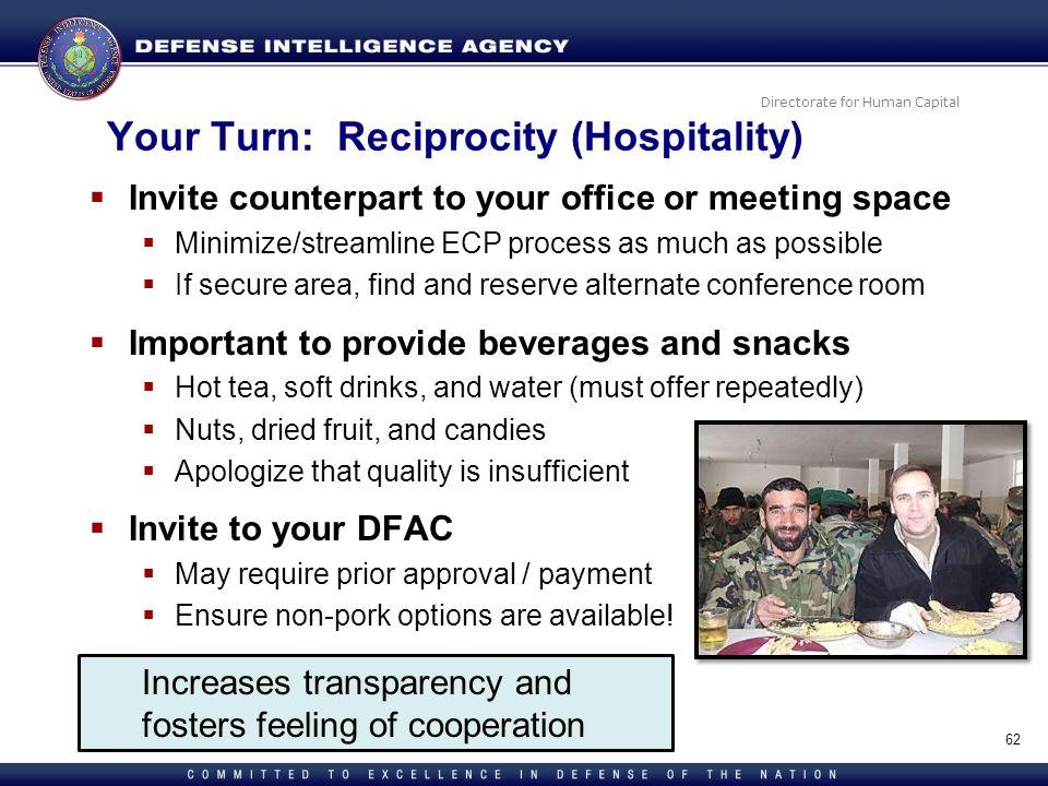 Your Turn: Reciprocity (Hospitality)