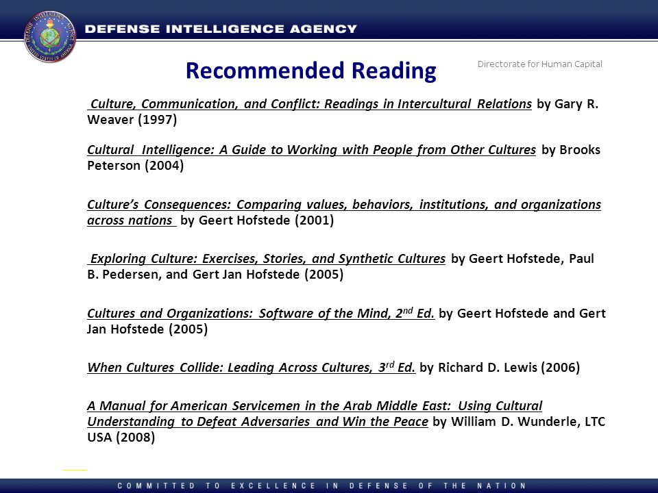 Recommended Reading Culture, Communication, and Conflict: Readings in Intercultural Relations by Gary R. Weaver (1997)
