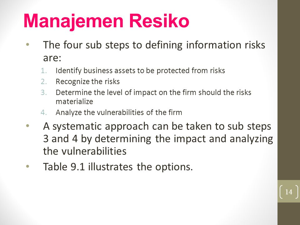 Manajemen Resiko The four sub steps to defining information risks are: