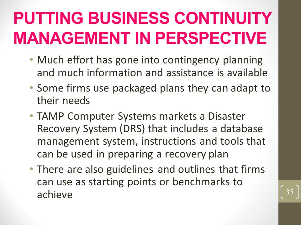PUTTING BUSINESS CONTINUITY MANAGEMENT IN PERSPECTIVE