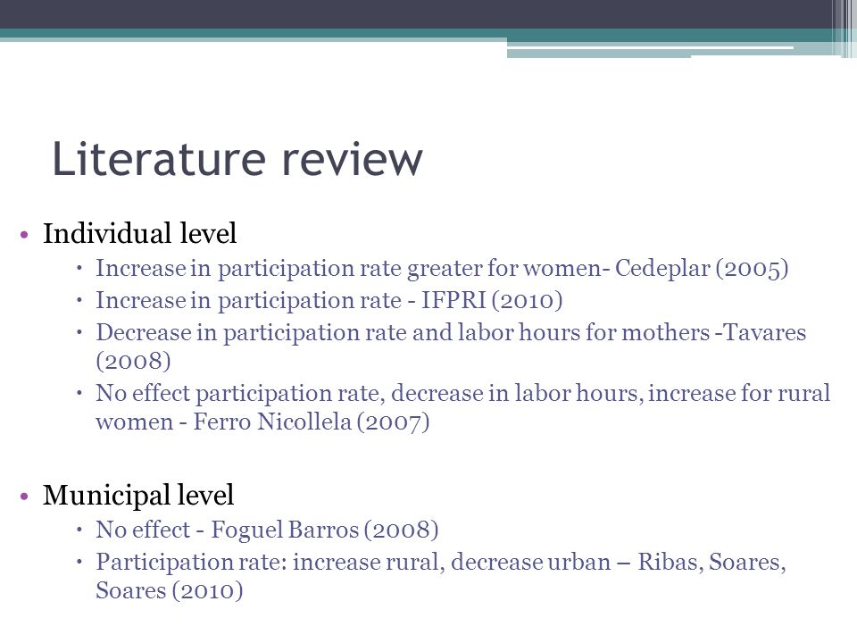 Literature review Individual level Municipal level