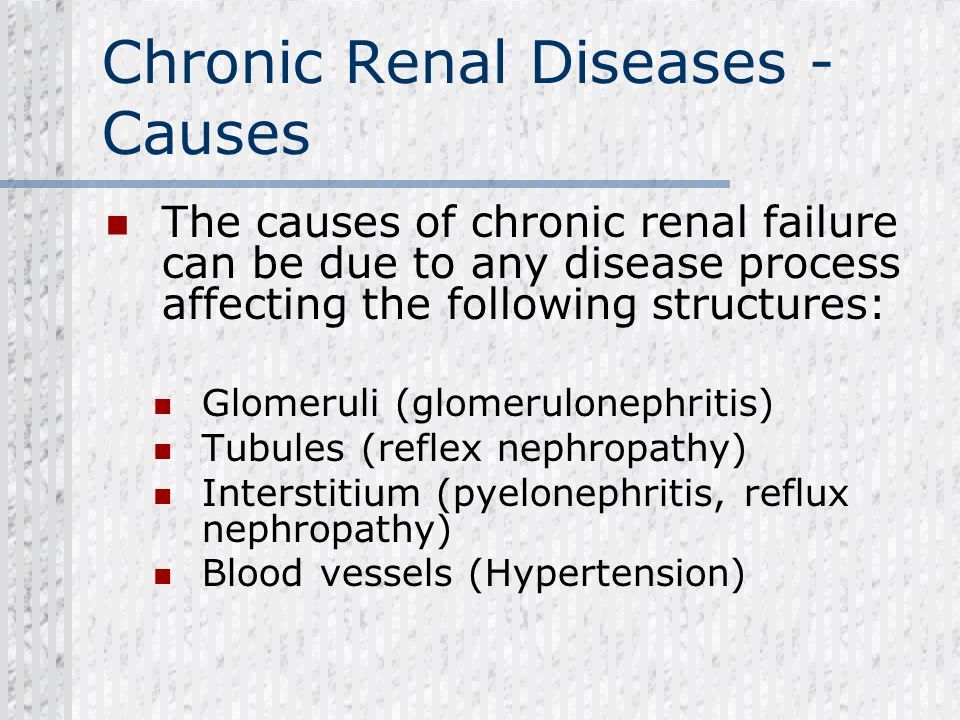 Chronic Renal Diseases - Causes